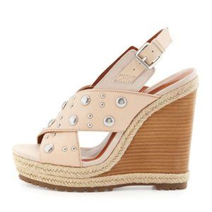 Rebecca Minkoff Silver Studded Leather Wedge Blush